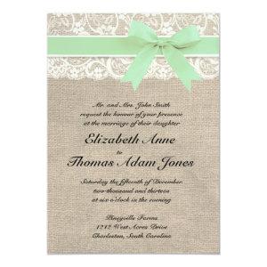 Ivory Lace Rustic Burlap Wedding Invitation- Mint 5