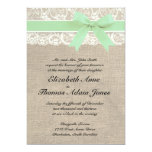 Ivory Lace Rustic Burlap Wedding Invitation- Mint Card