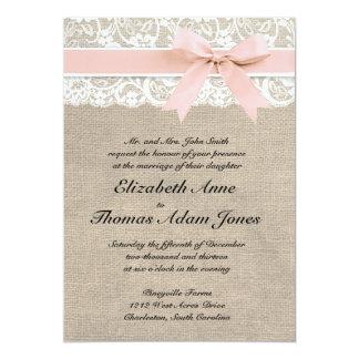 Ivory Lace Rustic Burlap Wedding Invitation- Peach Card