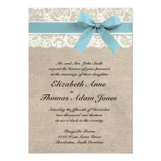 Ivory Lace Rustic Burlap Wedding Invite Glacier