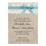 """Ivory Lace Rustic Burlap Wedding Invite Glacier 5"""" X 7"""" Invitation Card"""