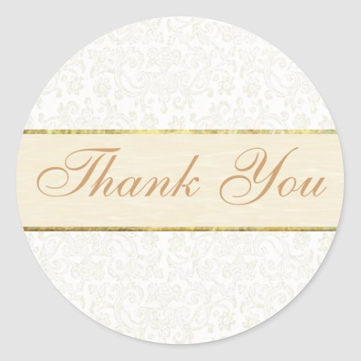 Ivory Lace Thank You Sticker/Seal