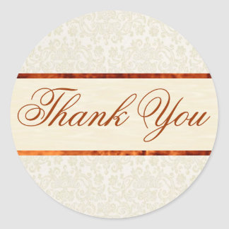 Ivory Lace Thank You Sticker/Seal Classic Round Sticker