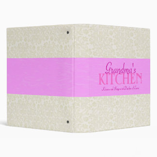 Ivory Lace with Pink Ribbon Recipe Binder