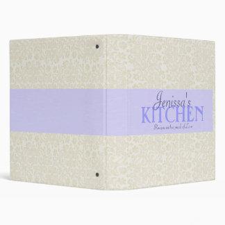 Ivory Lace with Powder Blue Ribbon Recipe Binder