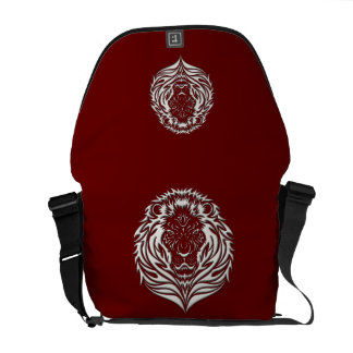 Ivory Lion Burgundy Black Messenger Bag