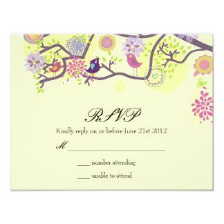 Ivory Love Birds on Tree Wedding RSVP Card