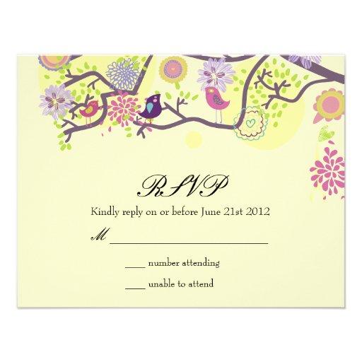 Ivory Love Birds on Tree Wedding RSVP Card Personalized Invitation