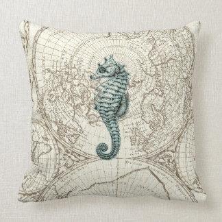 Ivory Map Green Seahorse Illustration Sealife Throw Pillow