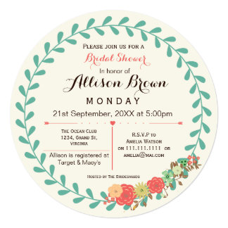 "ivory mint coral floral bridal shower Invites 5.25"" Square Invitation Card"