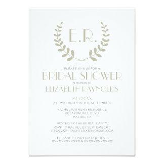 "Ivory Monogram Bridal Shower Invitations 5"" X 7"" Invitation Card"
