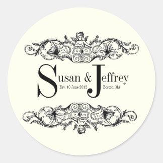 Ivory Monogram Logo Names Date Wedding Label Sticker