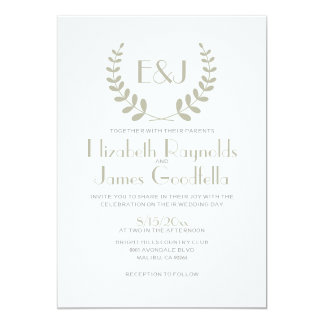 "Ivory Monogram Wedding Invitations 5"" X 7"" Invitation Card"