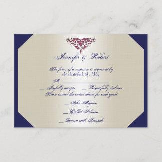 Ivory Navy Wine Damask Wedding Response Card
