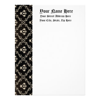 Ivory on Black Baroque Old English Formal Letterhead