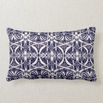 Ivory on Navy Blue Art Nouveau Pattern Pillow