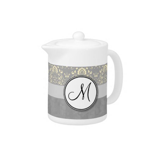 Ivory on Silver Damask and Stripes with Monogram