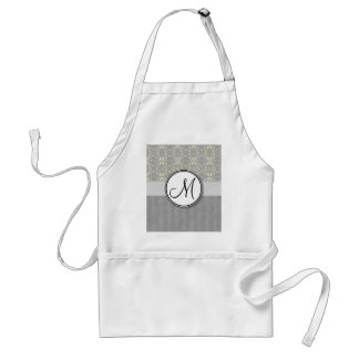 Ivory on Silver Damask and Stripes with Monogram Adult Apron