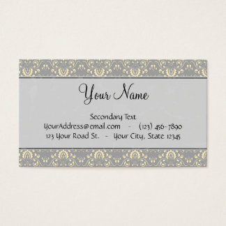 Ivory on Silver Damask and Stripes with Monogram Business Card