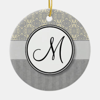 Ivory on Silver Damask and Stripes with Monogram Ceramic Ornament