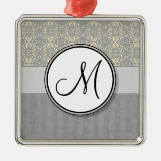 Ivory on Silver Damask and Stripes with Monogram Metal Ornament