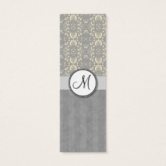 Ivory on Silver Damask and Stripes with Monogram Mini Business Card