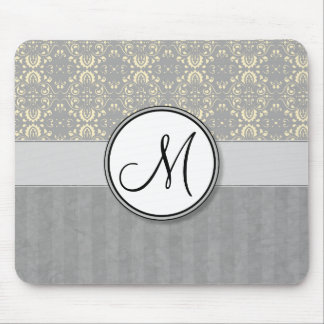 Ivory on Silver Damask and Stripes with Monogram Mouse Pad