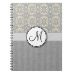 Ivory on Silver Damask and Stripes with Monogram Note Book