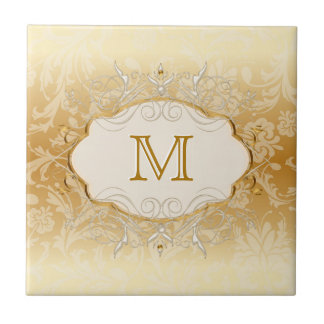 Ivory Pearl and Gold Monogram Tile