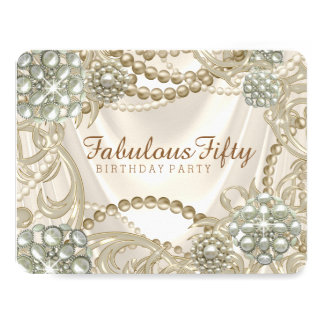Ivory Pearl Birthday Party Card