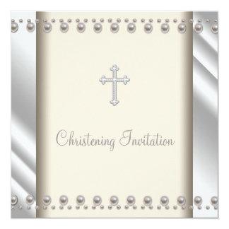 Ivory Pearl Cross Baby Boy Girl Christening Custom Invitations