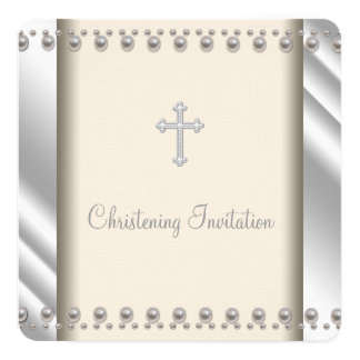 Ivory Pearl Cross Christening 5.25x5.25 Square Paper Invitation Card