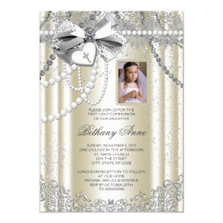 Ivory Pearl Cross Photo First Communion Card