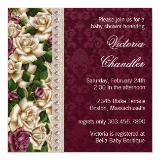 Ivory Pearls Pink Rose Damask Baby Girl Shower Card
