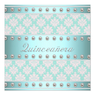 Ivory Pearls Teal Blue Pink Damask Quinceanera Card