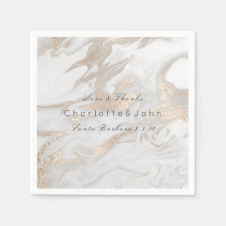 Ivory Pearly Titanium Gold White Gray Marble Party Paper Napkin