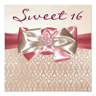 Ivory Pink Damask Sweet 16 Birthday Party Card