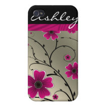 ivory pink floral 4 casing case for iPhone 4