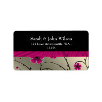ivory pink floral return address label