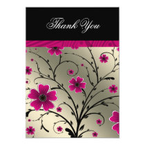 ivory pink floral thank you card
