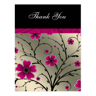 ivory pink floral thank you postcard