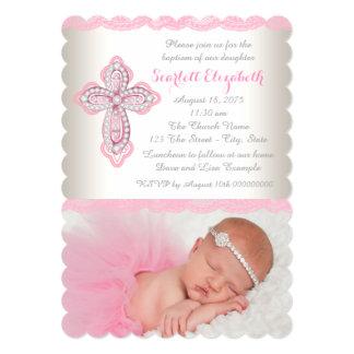 Ivory Pink Lace Diamond Cross Photo Baptism Card