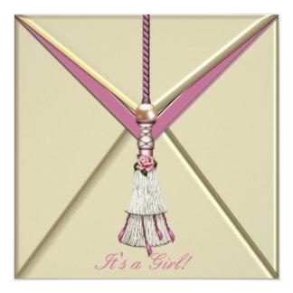 Ivory Pink Rosebud Tassel Baby Girl Shower Card