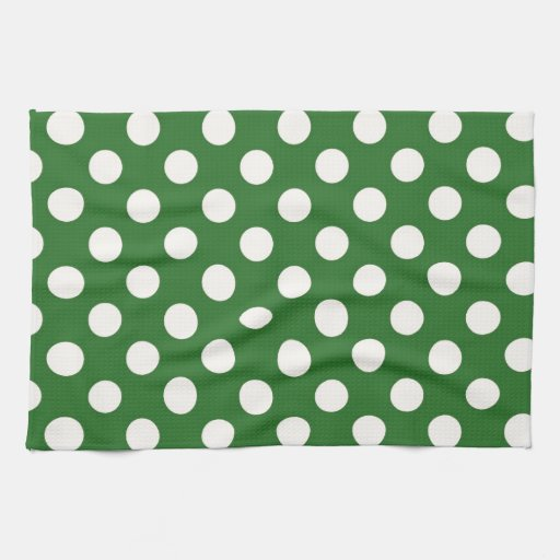 Ivory Polka Dots on Green Kitchen Towels