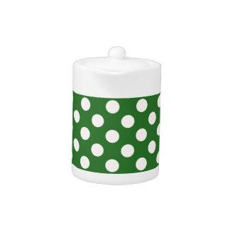Ivory Polka Dots on Green