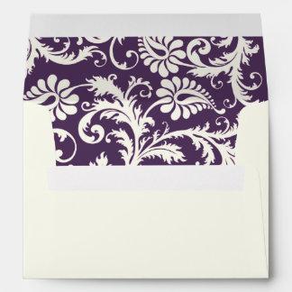 Ivory, Purple, and Pink Damask 5x7 Envelope