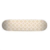 Ivory Quatrefoil Trellis Pattern Skateboard Deck