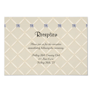 Ivory Quilted Bling Diamond Posh Wedding Reception Card