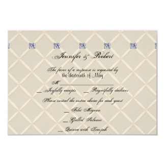 Ivory Quilted Bling Posh Wedding Response Card