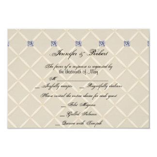 Ivory Quilted Bling Posh Wedding Response Card Custom Invite